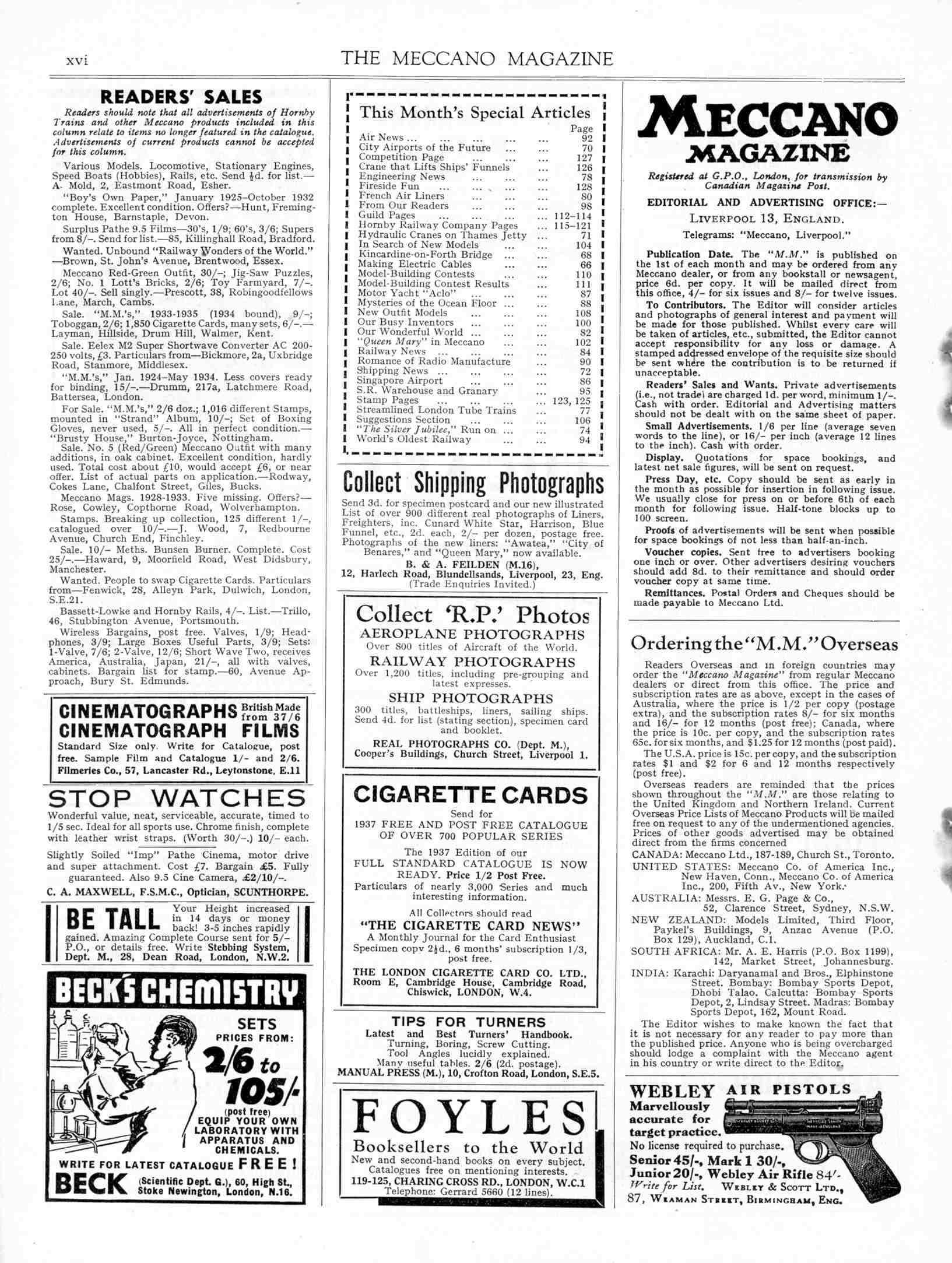 UK Meccano Magazine February 1937 Page xvi
