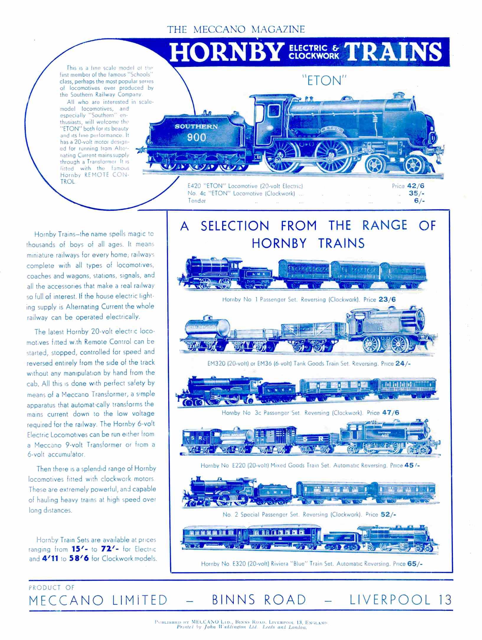 UK Meccano Magazine September 1937 Rear cover
