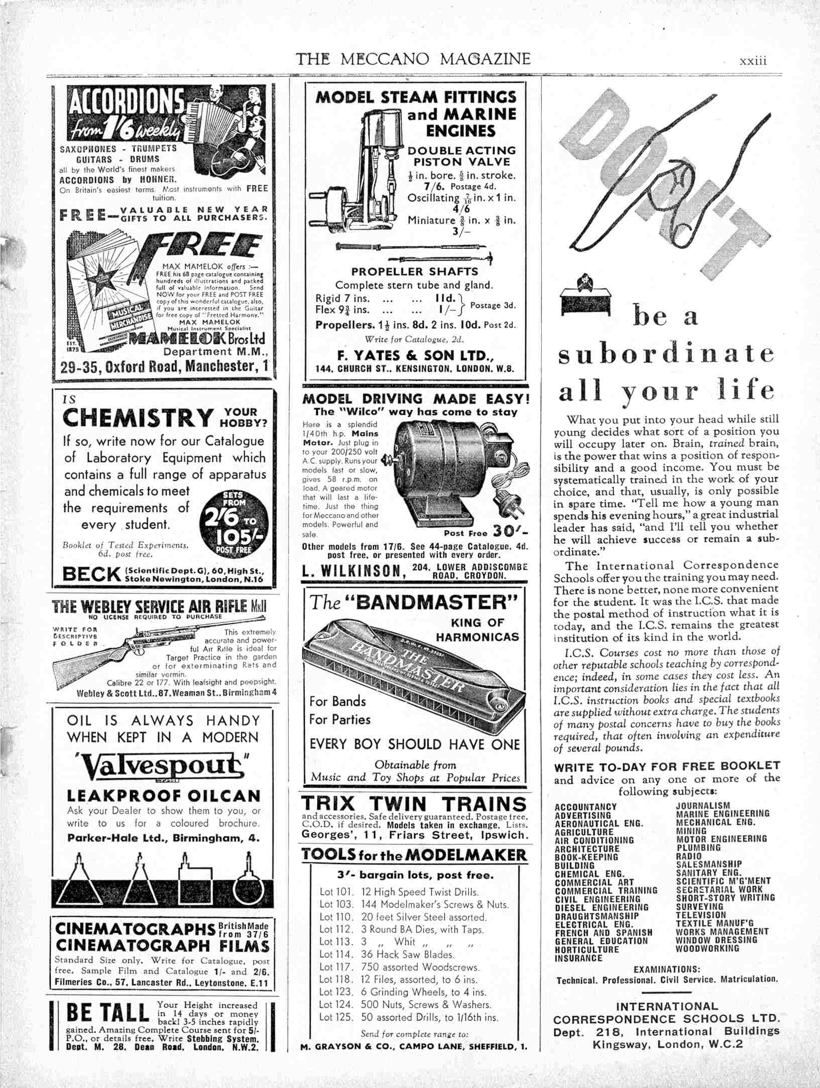 UK Meccano Magazine January 1938 Page xxiii