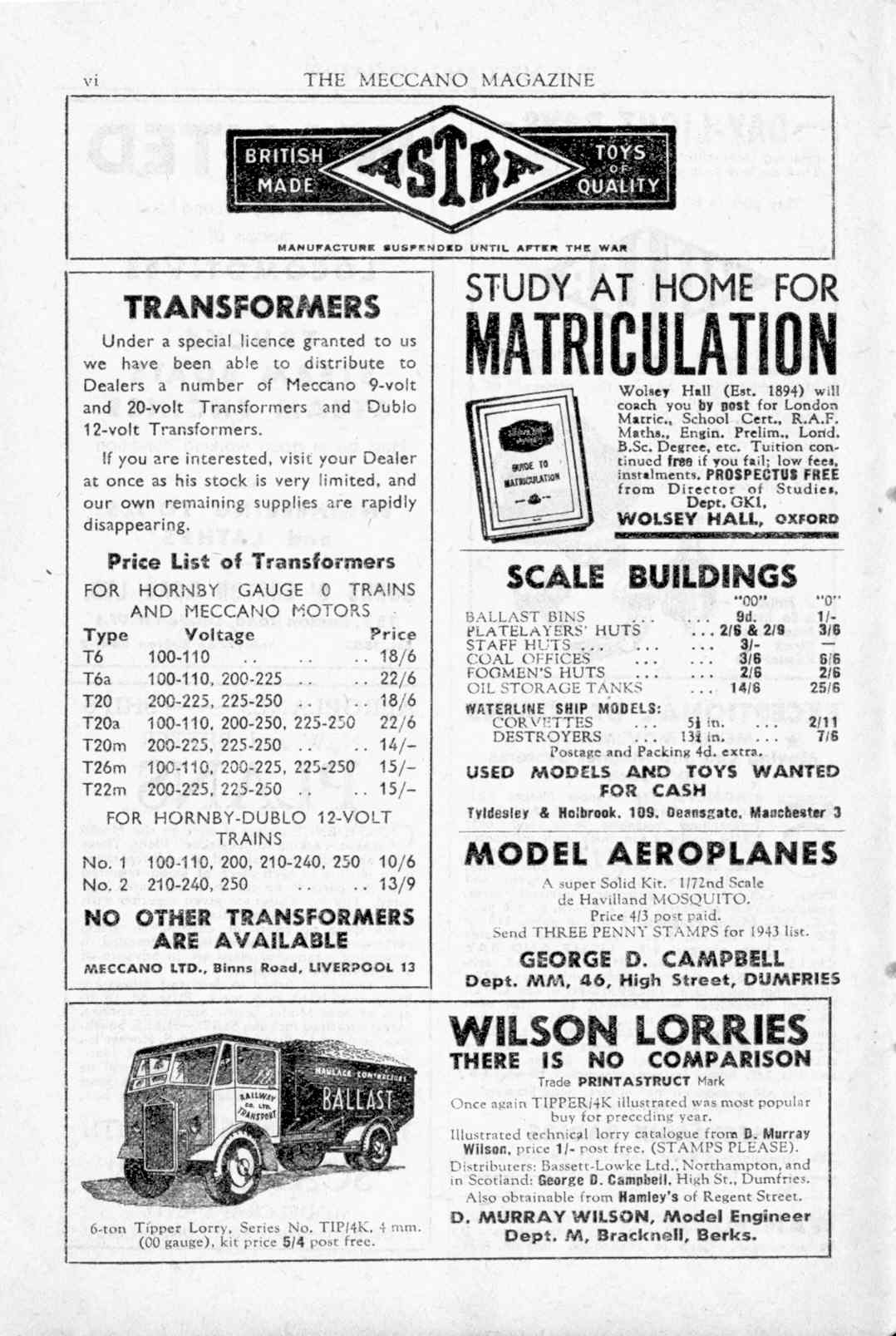 UK Meccano Magazine May 1943 Page vi