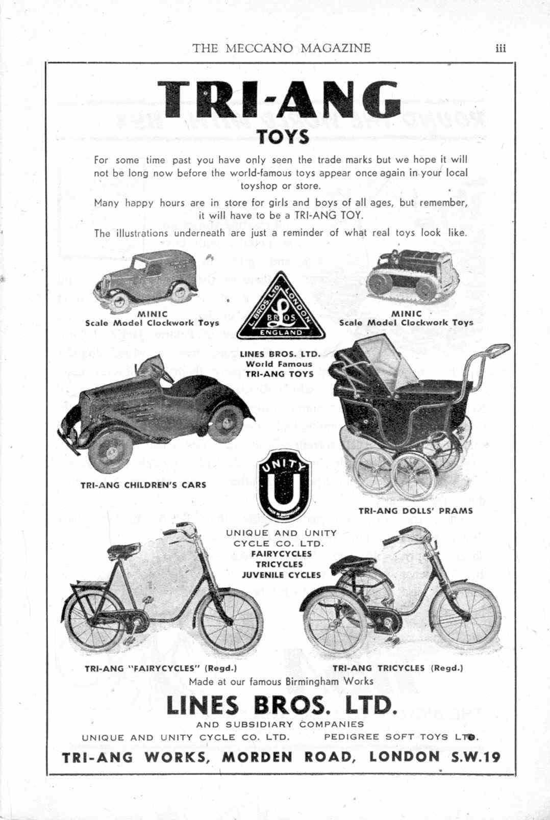 UK Meccano Magazine December 1944 Page iii