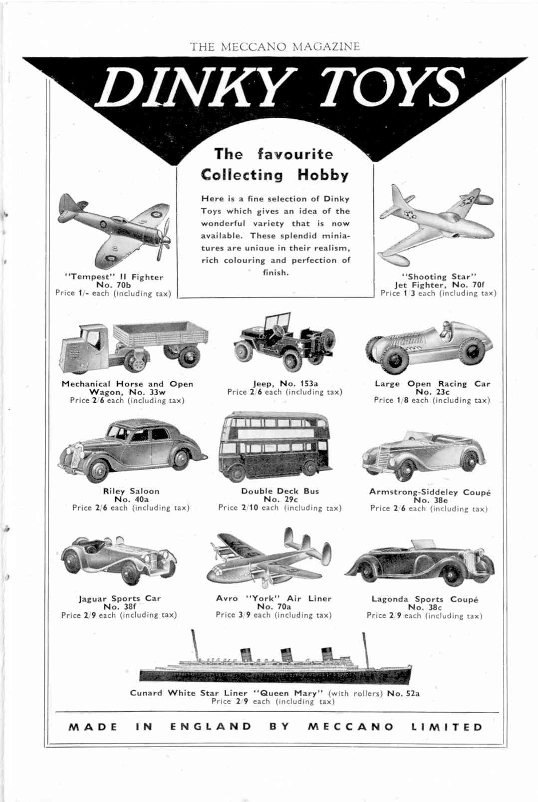 UK Meccano Magazine November 1947 Inner R/cover