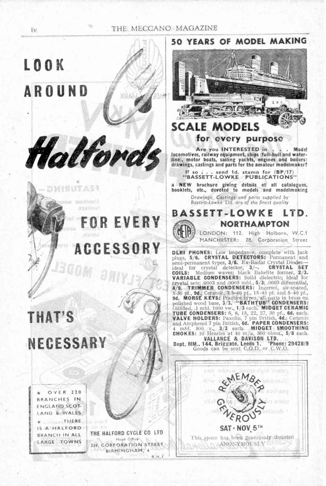 UK Meccano Magazine November 1949 Page iv