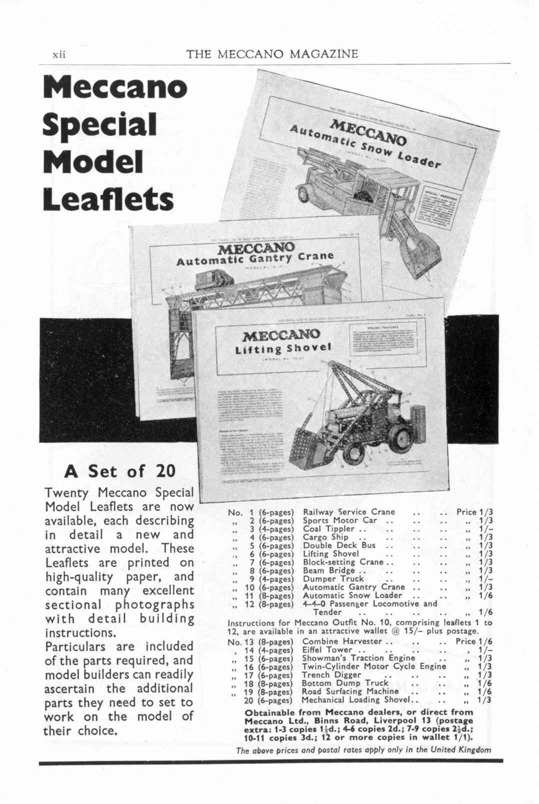 UK Meccano Magazine October 1955 Page xii