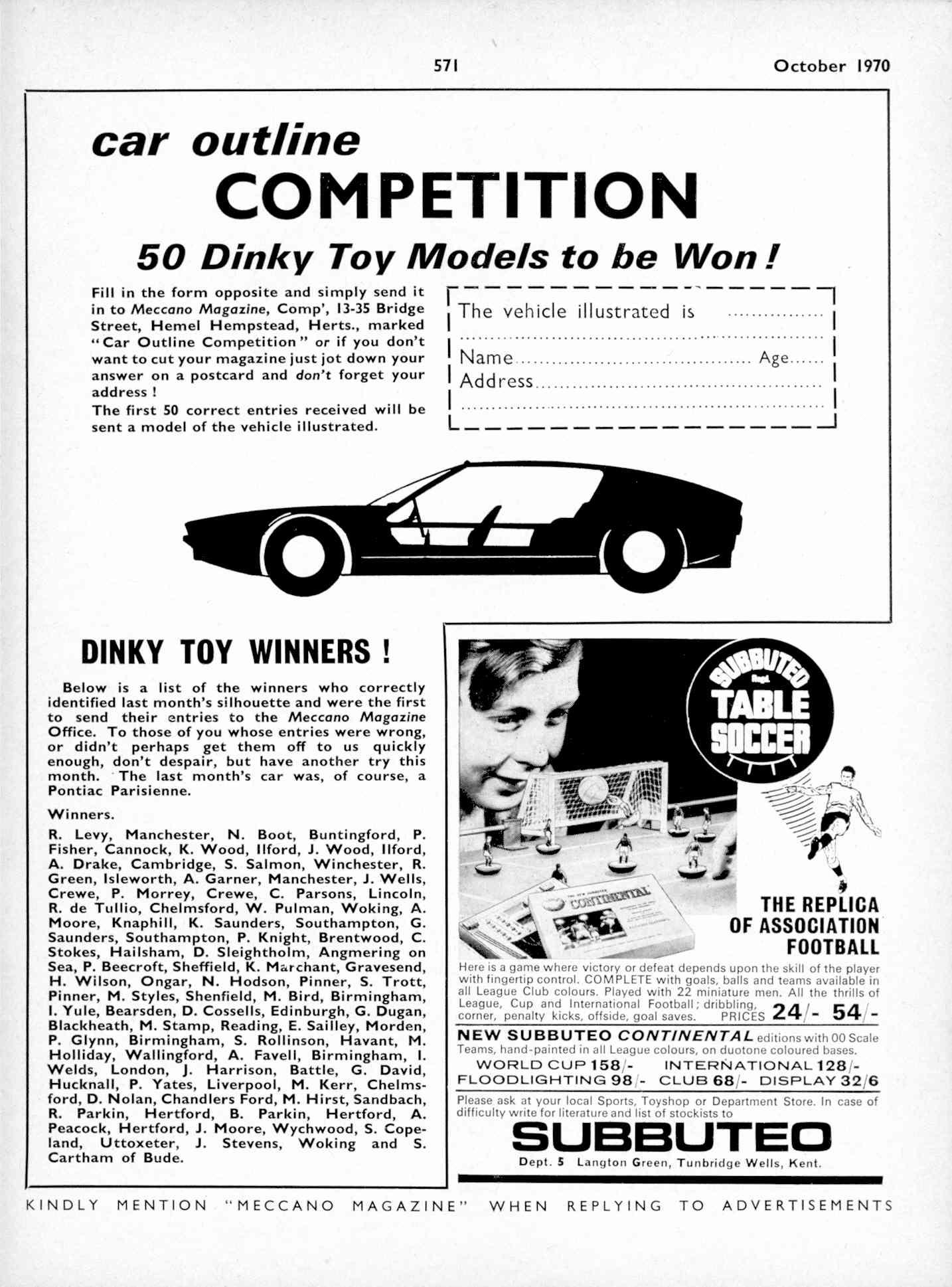 UK Meccano Magazine October 1970 Page 571